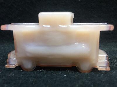 Pink Milk glass train Caboose boxcar railroad / RR art depot Crown Tuscan opaque