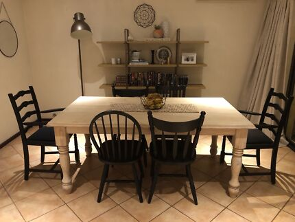 Refurbished dining table **chairs all freshly painted today**