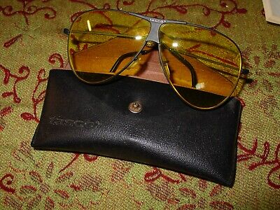 Vintage Tasco Fishing Marksman 1175Y SUNGLASSES Black Aviator Yellow Lens (Aviator Fishing Sunglasses)