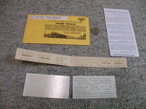 Champ decals O Gauge P-21 Chicago North Western std passenger broze gold  J117