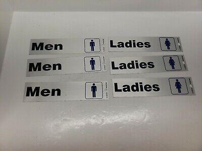 Restroom Door Signs Hillman Men & Ladies Adhesive Silver Aluminum 8