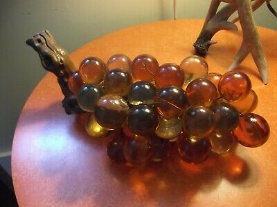 """Vintage MCM Lucite Acrylic Grapes Cluster Amber Yellow Orange 15"""" Driftwood"""