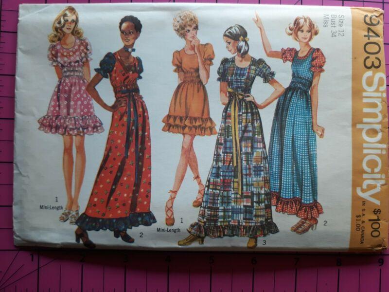 1971 Vintage Sewing Pattern Simplicity 9403 SZ 12 UNCUT Hippy Dresses Ruffled