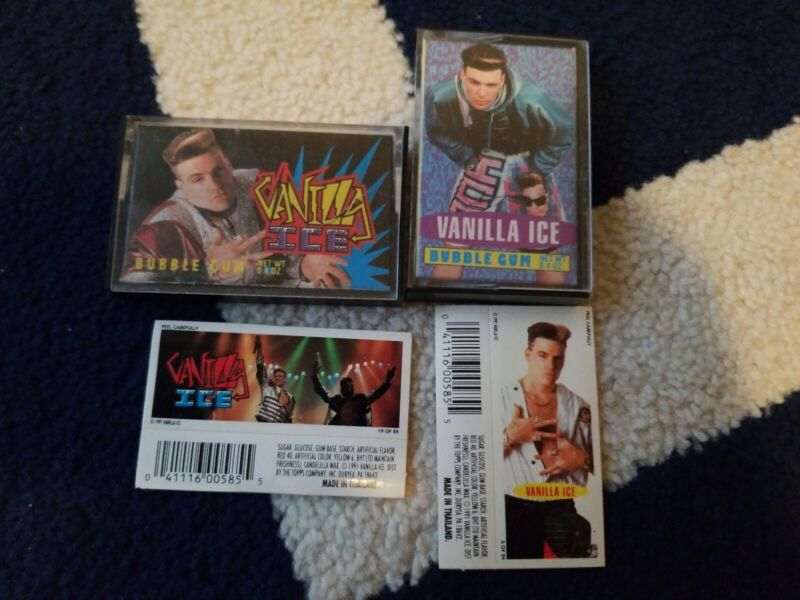 Vintage 1991 Topps VANILLA ICE Bubble Gum Cassette candy container.