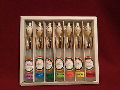"""Vtg """"Saki Geisha Bottles"""" House of Koshu Rainbow Set of 7 empty in original box"""