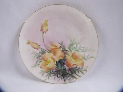 Haviland California Poppies Porcelain Plate Floral Hand Painted Vintage France