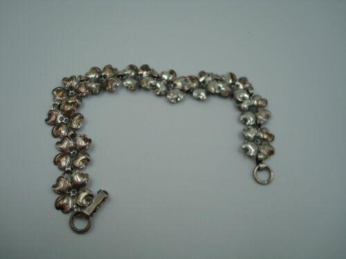"""BEAU sterling Dogwood flower bracelet 7"""" long"""