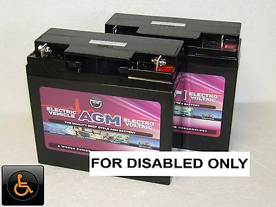 2 x LEOCH 12V 22ah (Can also Replace 18ah & 20ah) MOBILITY SCOOTER BATTERIES