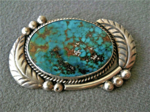 """Native American Pilot Mountain Turquoise Sterling Silver Leaves Pin Brooch 2x1+"""""""