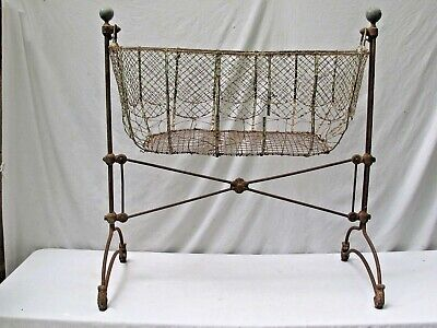 Antique French 1800's Iron and Wire Baby Bed / Basinette