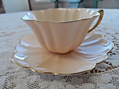 Shelley Peachy Pink Cup and Saucer Gold Handle and Trim