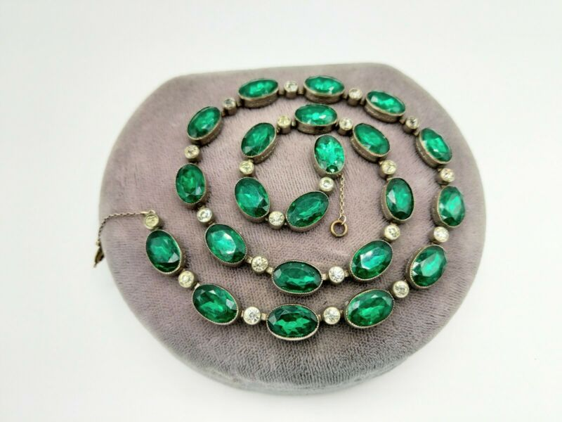 Antique Georgian Emerald, Diamante Paste Flat Back Riviere Necklace As IS