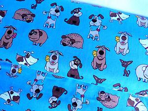 BW Stoff Baumwolle Comic Dogs Hunde Hund blau Meterware 14965
