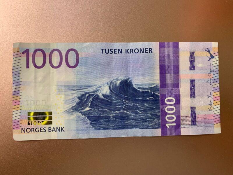 Norway 1000 Kroner 2019 Circulated Banknote. 1000 Norwegian Cir Bill. Banknotes.