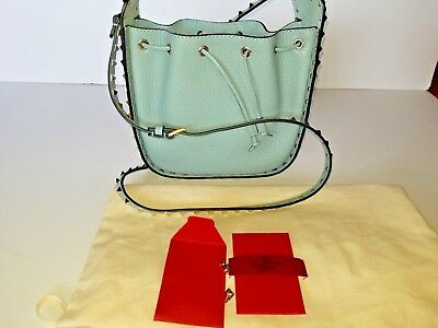 VALENTINO GARAVANI Rockstud Small Drawstring Crossbody Shoulder Bucket Bag Blue