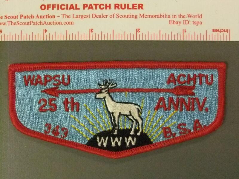 Boy Scout OA 343 Wapsu Achtu Lodge 25th Flap 7743JJ