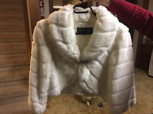 Faux fur ivory winter jacket for wedding or winter event
