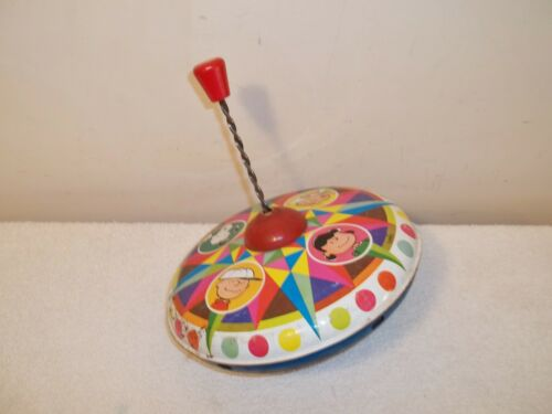 Vtg 1969 CHEIN PEANUTS SNOOPY CHARLIE BROWN LUCY LINUS TIN-LITHO SPINNING TOP