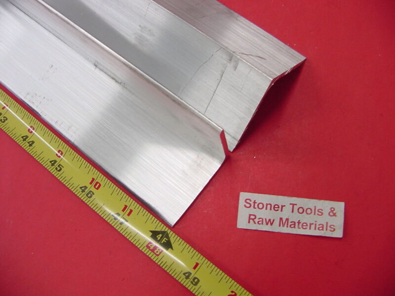 """2 Pieces 2""""x 2""""x 1/8"""" ALUMINUM 6061 ANGLE BAR 48"""" long T6 Extruded ANGLE Stock"""