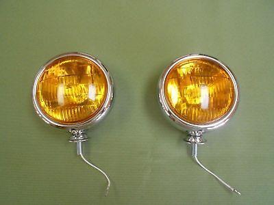 vintage style chrome 5 inch 6 volt fog lights light ratrod driving lights light