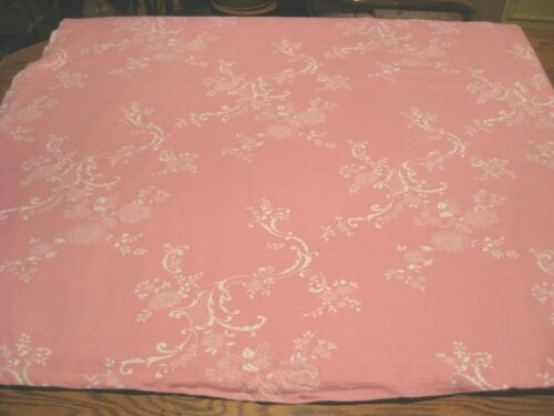 COMING HOME Pink w/ White Floral Heavy Flannel Flat Sheet - Queen - Germany
