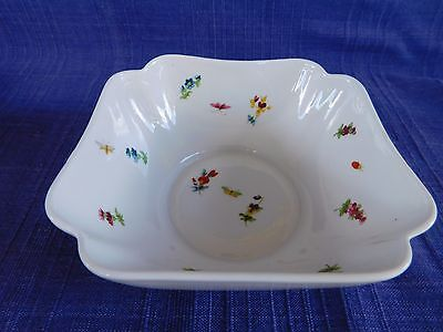 Chamart Limoges France Scalloped Edge SQUARE BOWL with Butterfly & Flower Butterfly Square Bowl