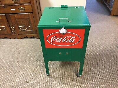 Green Metal Coca-Cola Ice Chest on Wheels