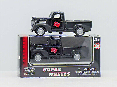 Two Factory-boxed 1:43 Motor Max Brand Milwaukee Road Plymouth Pickup Trucks