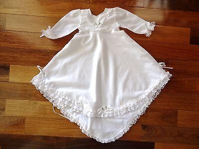 Handmade WHITE Baby NewBorn Infant CHRISTENING Baptism GOWN Train Hem DRESS