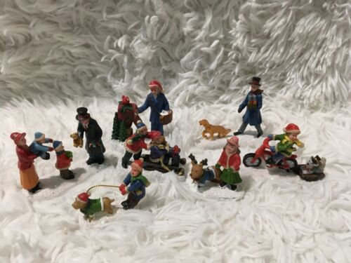 LOT of 7 Christmas Village Figurines People & Accessories Unbranded