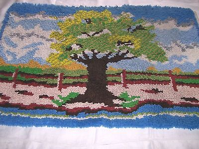 Vintage Hand Crafted Hooked Rug-Tree, Fence, Clouds and Sky