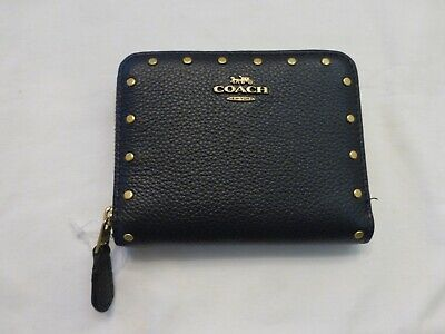 NWT COACH Small Navy Blue All Leather Studded Bi-Fold Zip Around Wallet Blue Leather Wallet