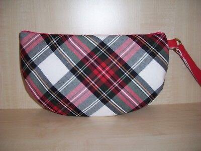 Half moon tartan check Royal Stewart zip clutch bag with wrist strap, BN Half Moon Zip