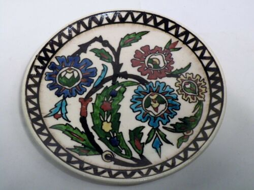 """ccz111 VINTAGE IZNIK  WALL PLATE 7 1/2"""" HAND PAINTED CERAMIC POTTERY"""