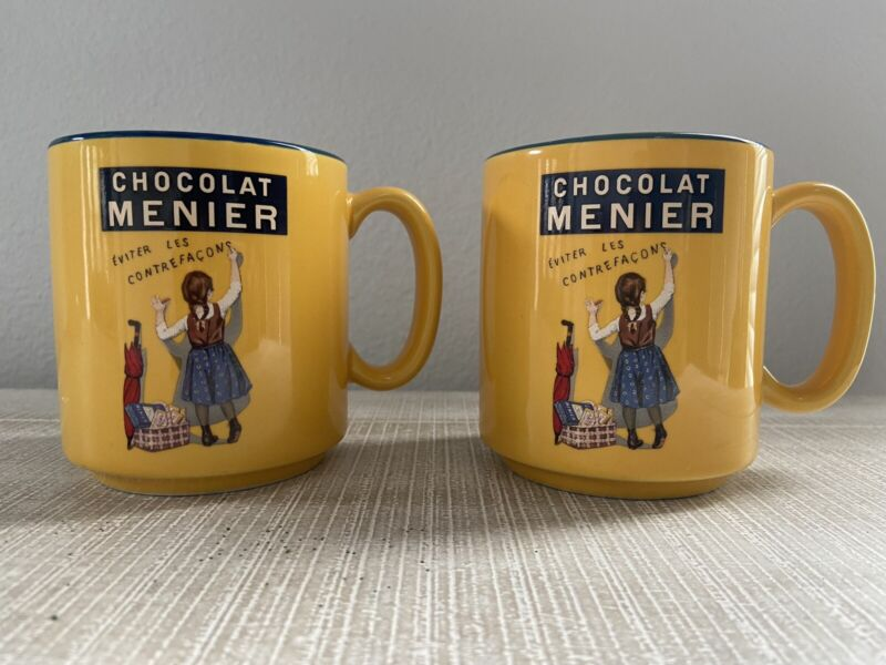 Chocolat Menier Mugs France Editions Clouet Vintage Yellow Set Of 2
