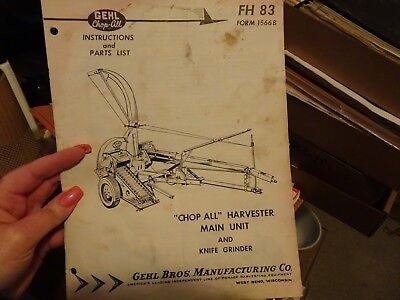 Gehl Fh 83 Chop All Harvester Main Unit And Knife Grinder Service Part Manual