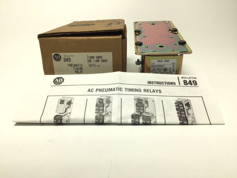 NEW ALLEN BRADLEY 849-ZOD32 PNEUMATIC TIMING RELAY 120V