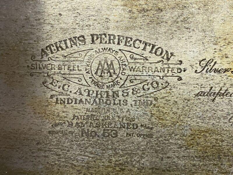 Vintage E.C. Atkins No. 53 Hand Saw 7PPI ATKINS PERFECTION Etching Nice Shape