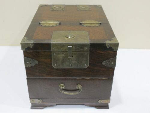 Antique Vintage Korean Handmade Mirror Box, Wood Box with Mirror