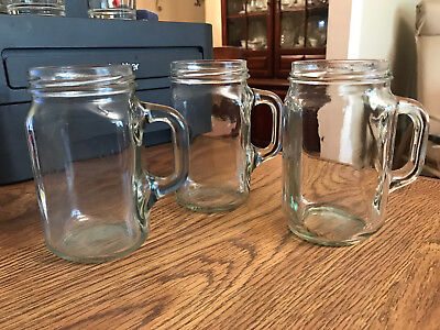 Glass Mason Jars With Handles (3 Mason Drinking Jars with Handles,  Drinking Jars, Vintage Style Jar Glass,)
