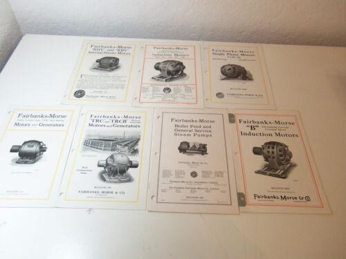 1922 Lot 7 Booklets FAIRBANKS-MORSE Bulletins MOTORS GENERATORS Steam Pumps