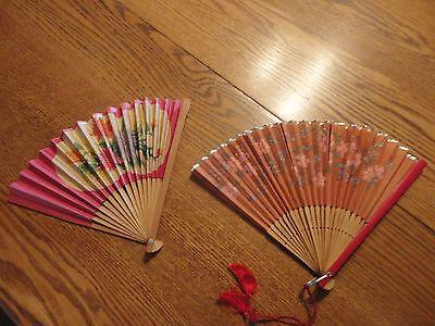 (2) VINTAGE JAPANESE WOOD & PAPER HAND FANS