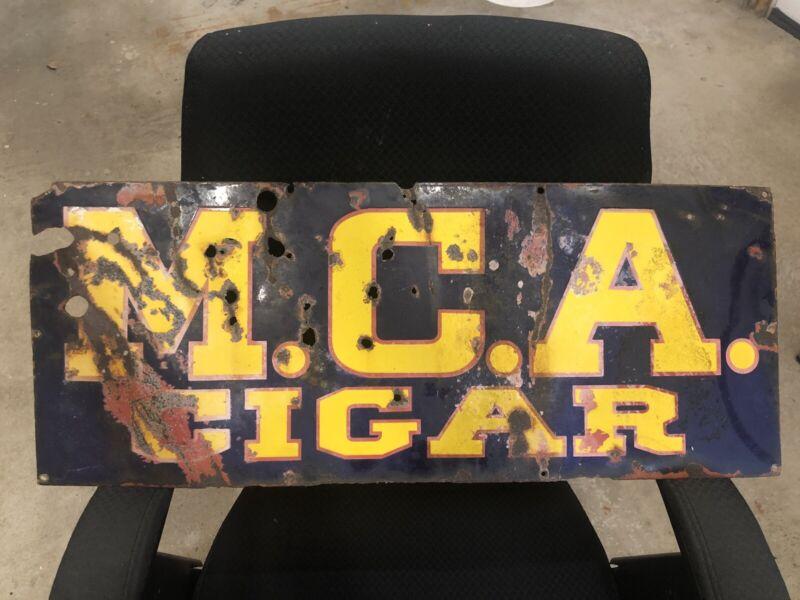 Rare Vintage M.C.A. Cigar Porcelain Sign