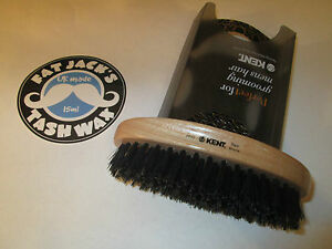 Kent PF22 Oval Military Grooming Brush Natural Bristle Beech Wood for Hair Beard