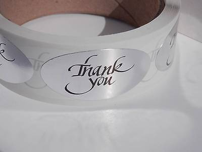 Thank You 1x2 Oval Stickers Labels Bright Silver Foil Bkgd 250rl