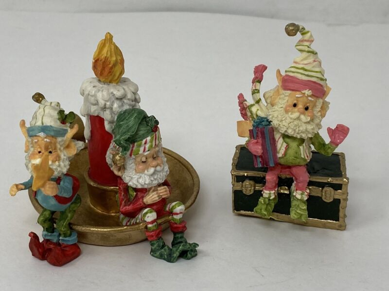 "ENESCO ELF  FIGURINE 4"" Lot Of 3 Christmas Holiday"