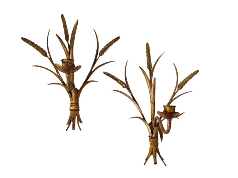 Italian Hollywood Regency Gilt Metal Tole Wheat Candle Wall Sconce, Pair