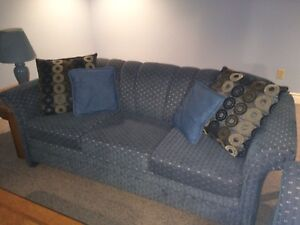 Soft blue couch and loveseat
