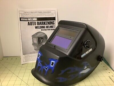 Gently Used Chicago Electric Welding Helmet 61610 Blue Flames Ansi