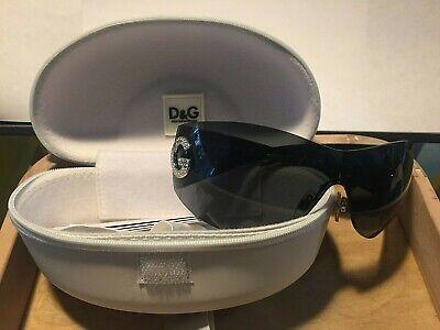 D&G SUNGLASSES DG 6036-B CBOC9 SMOKE BLACK FRAME LENS Wrap Unisex crystals ITALY